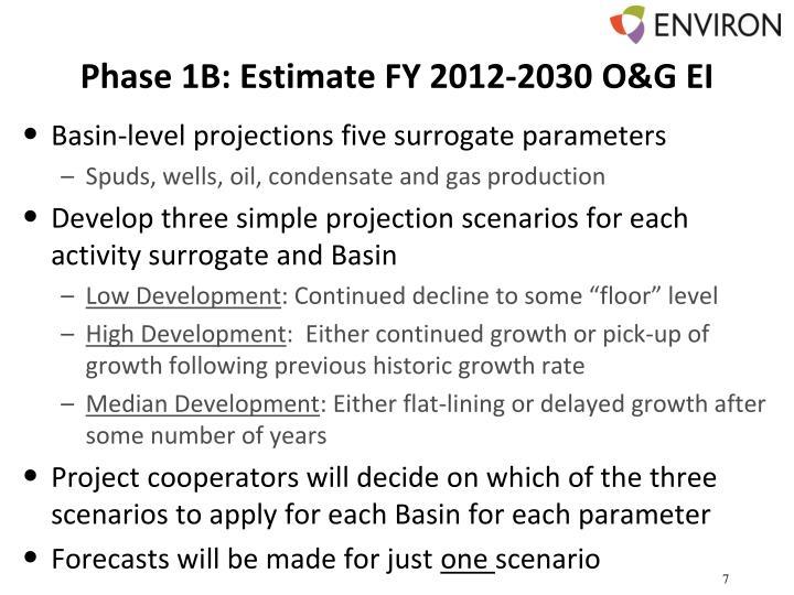 Phase 1B: Estimate FY 2012-2030 O&G EI