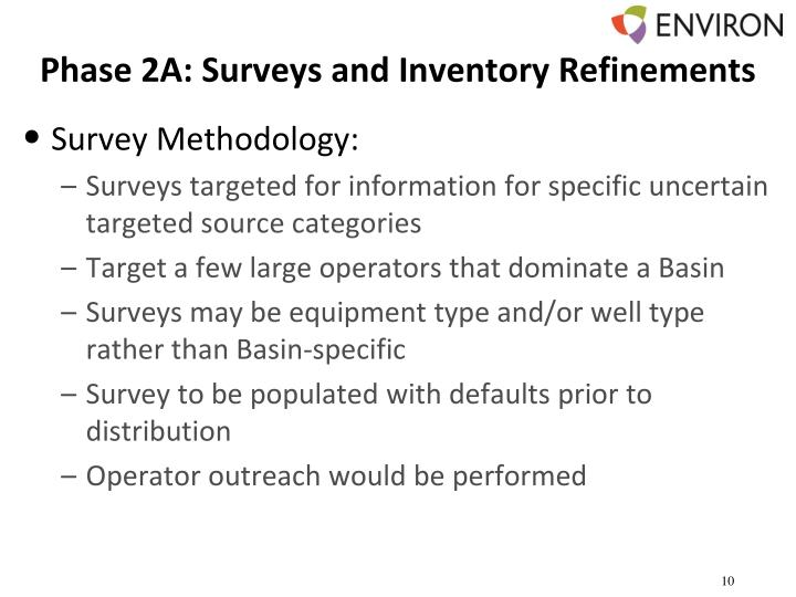 Phase 2A: Surveys and Inventory Refinements