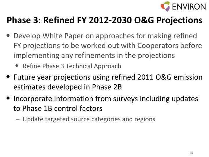 Phase 3: Refined FY 2012-2030 O&G Projections