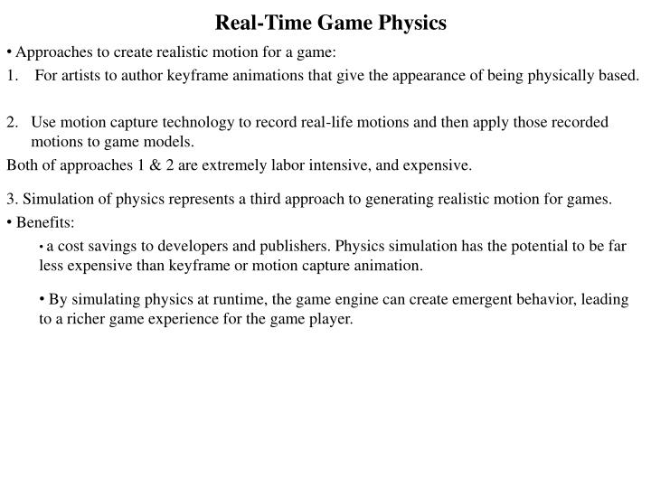 real time game physics n.