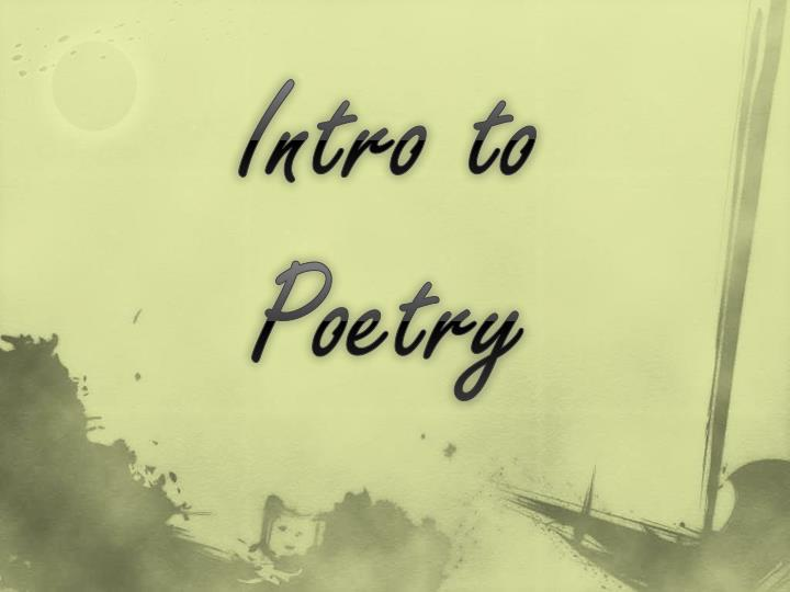 intro to poetry n.