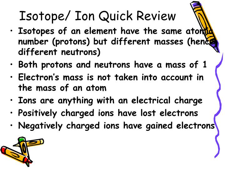 Isotope/ Ion Quick Review