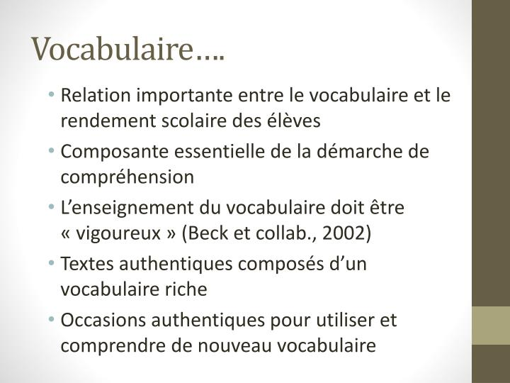 Vocabulaire….