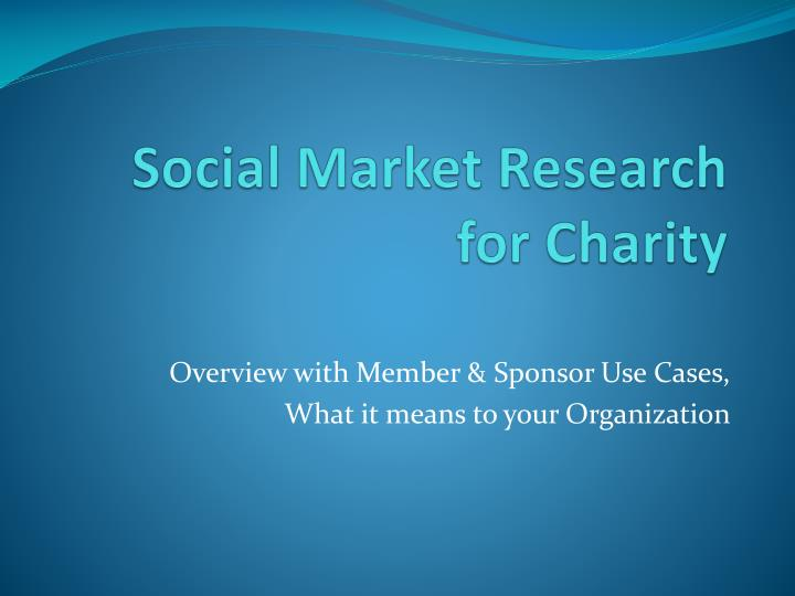 social market research for charity n.