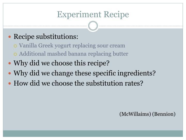 Experiment recipe