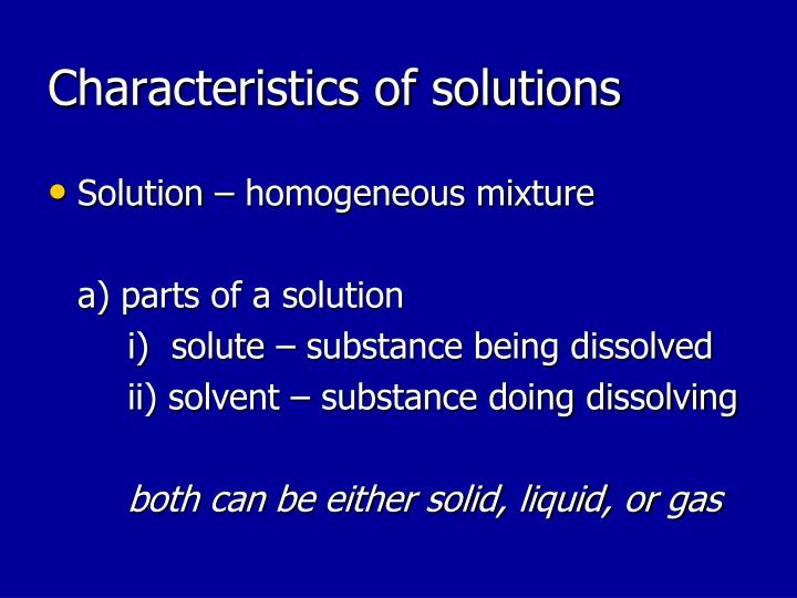 characteristics of solutions n.