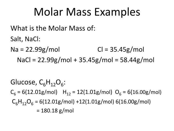 Molar Mass Examples