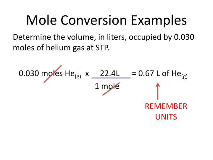 Mole Conversion Examples