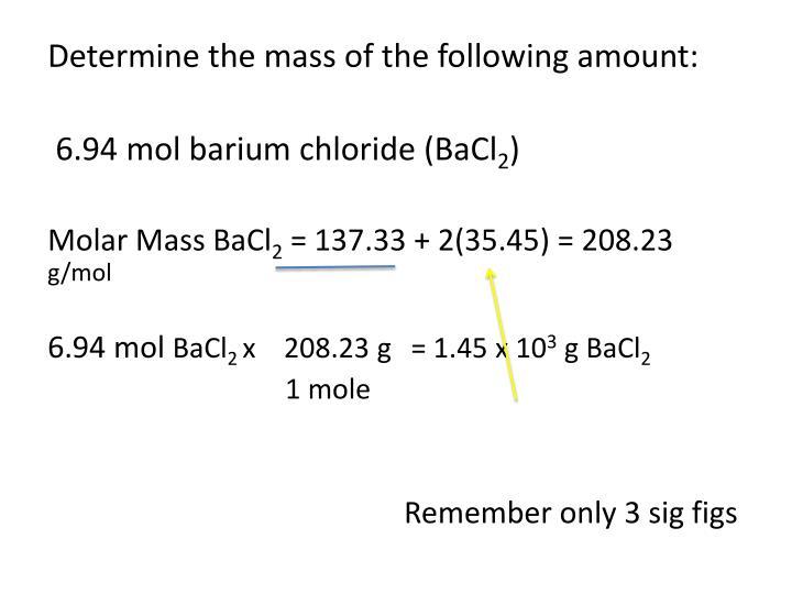 Determine the mass of