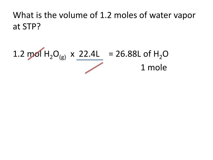 What is the volume of 1.2 moles of water vapor at STP?