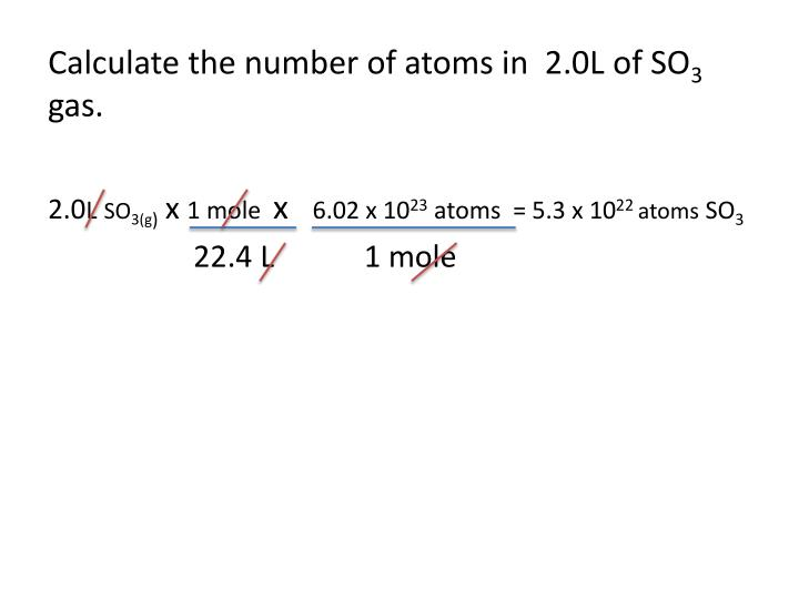 Calculate the number of atoms in  2.0L of SO