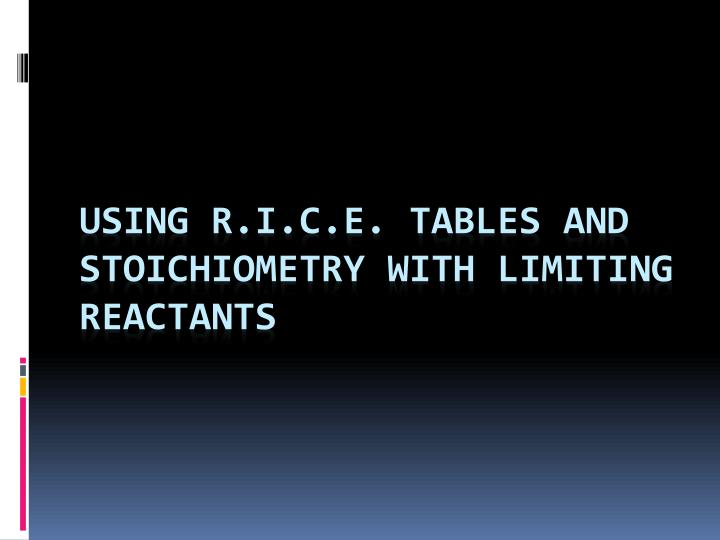 using r i c e tables and stoichiometry with limiting reactants n.