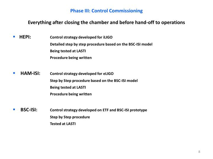 Phase III: Control Commissioning