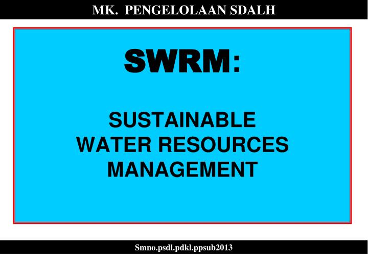 swrm sustainable water resources management n.