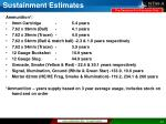 sustainment estimates