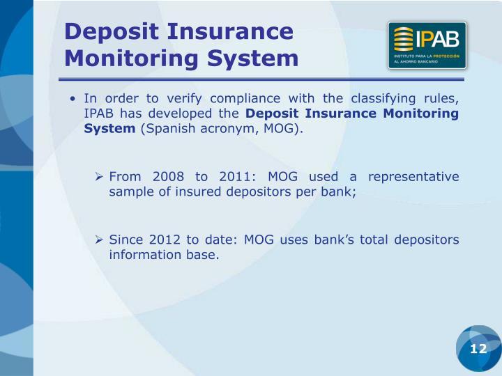 Deposit Insurance            Monitoring System