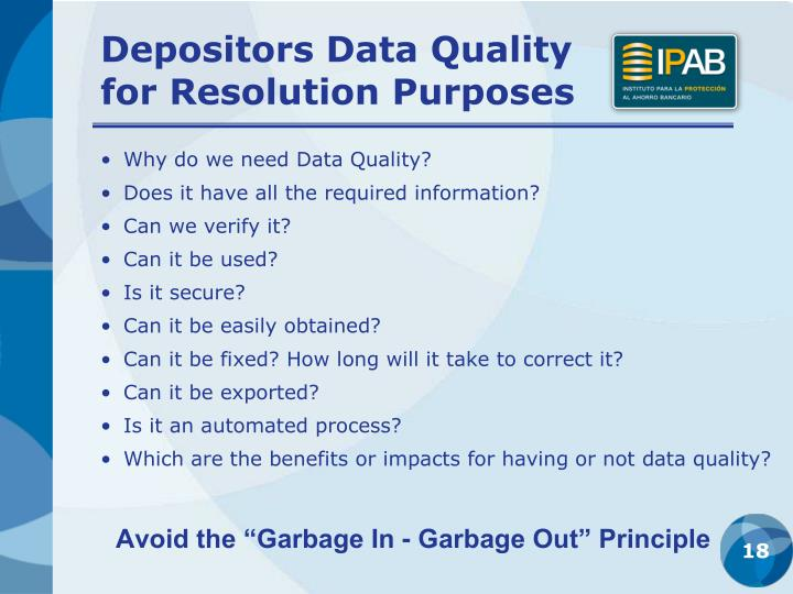 Depositors Data Quality        for Resolution Purposes