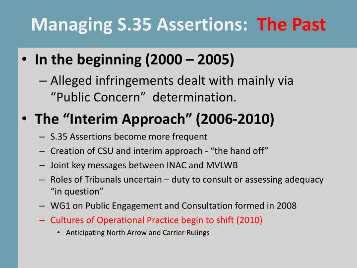 Managing S.35 Assertions: