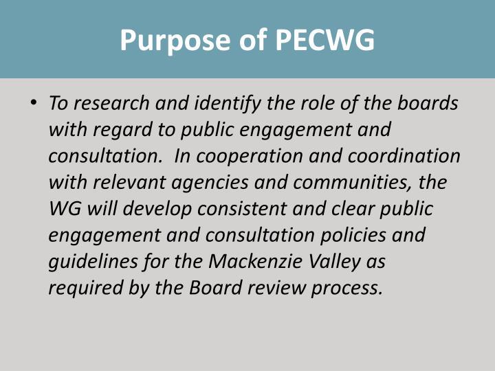 Purpose of PECWG