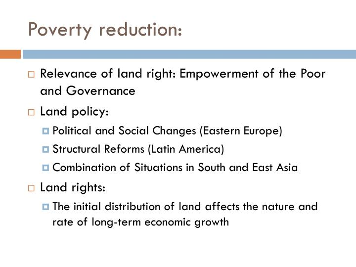 Poverty reduction: