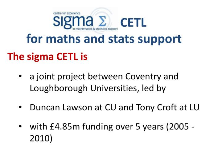 cetl for maths and stats support