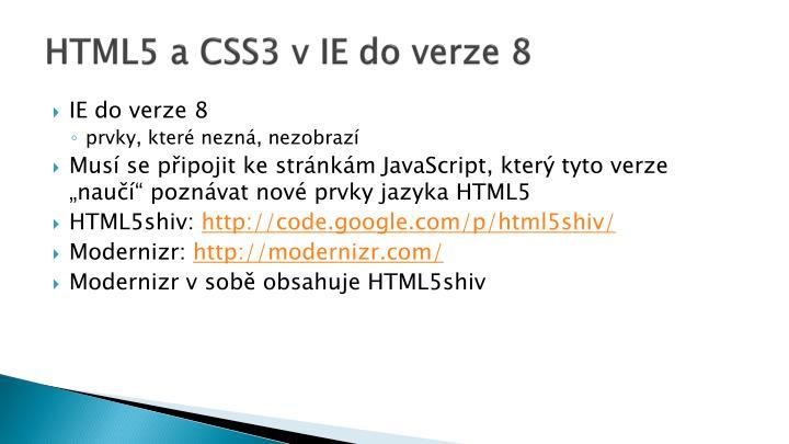 HTML5 a CSS3 v IE do verze 8