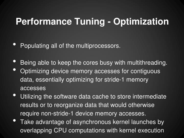 Performance Tuning - Optimization