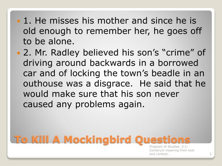 To kill a mockingbird questions