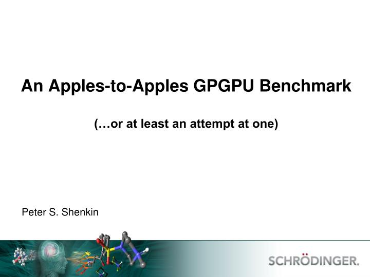 An apples to apples gpgpu benchmark or at least an attempt at one