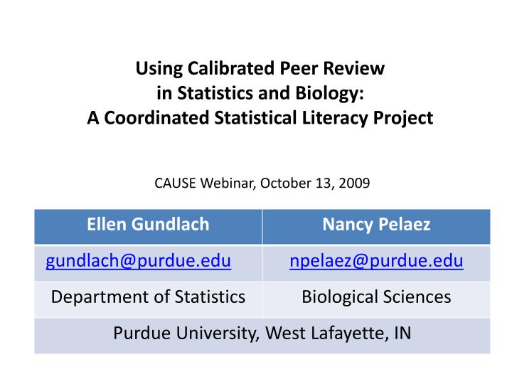 using calibrated peer review in statistics and biology a coordinated statistical literacy project n.
