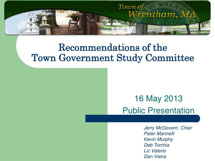 recommendations of the town government study committee n.