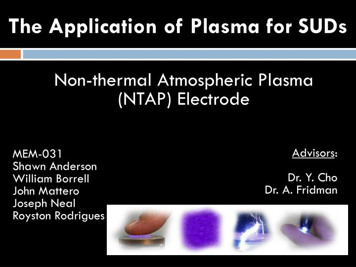 the application of plasma for suds n.