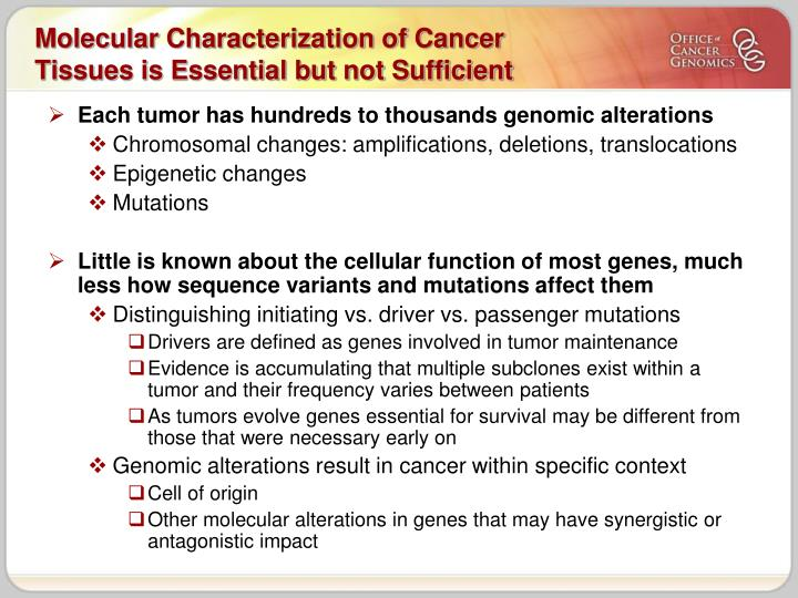 Molecular characterization of cancer tissues is essential but not sufficient