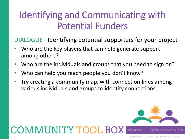 Identifying and Communicating with Potential Funders