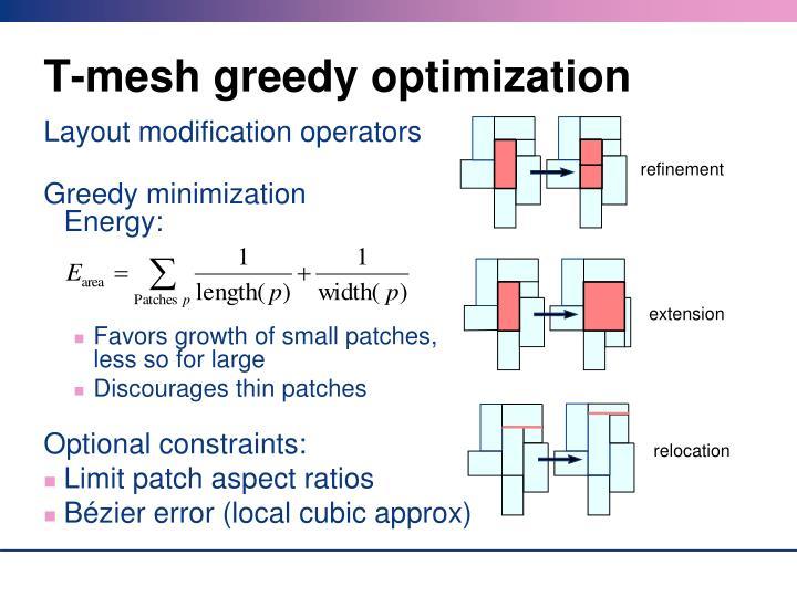 T-mesh greedy optimization