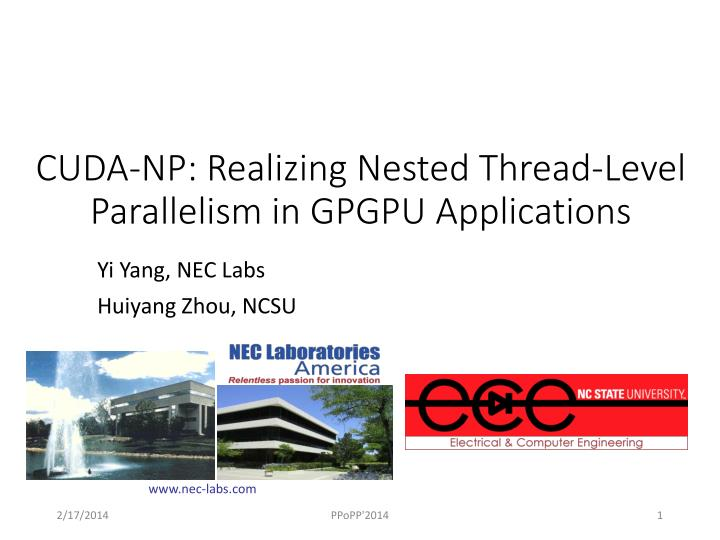 cuda np realizing nested thread level parallelism in gpgpu applications n.
