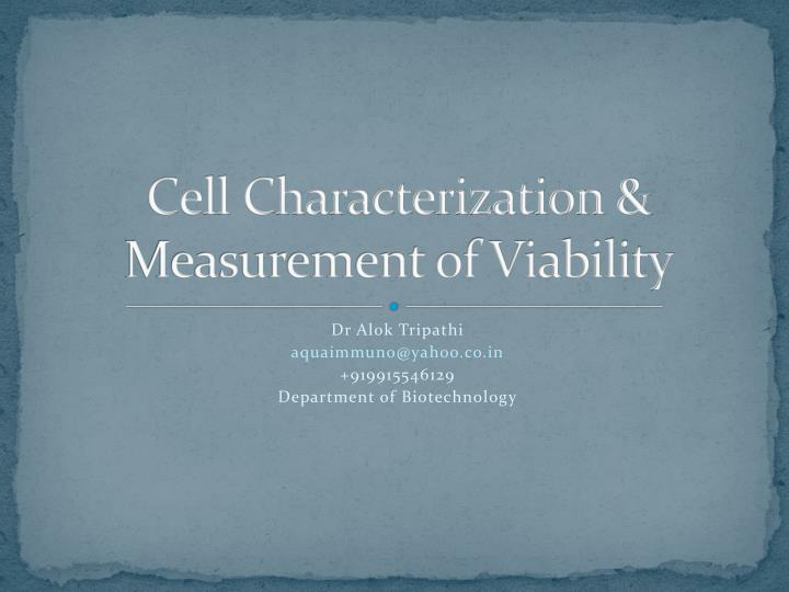 cell characterization measurement of viability n.