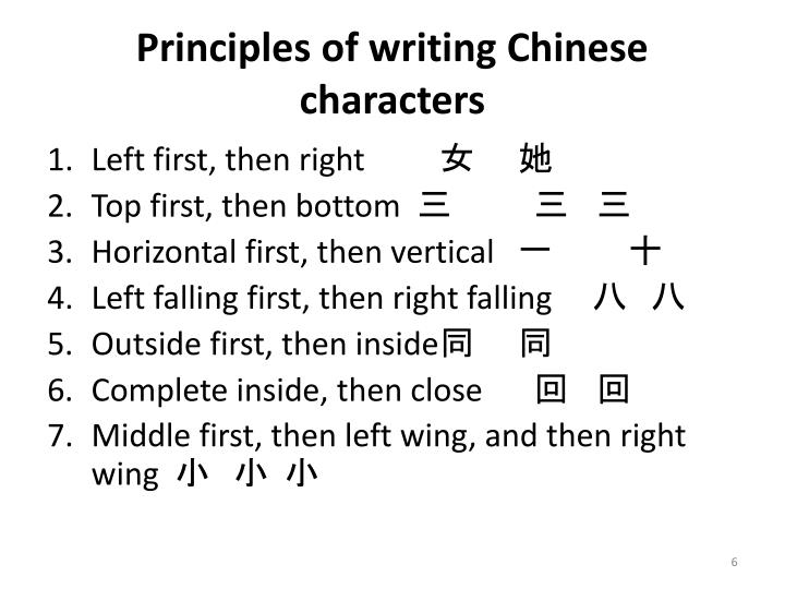 Principles of writing Chinese characters
