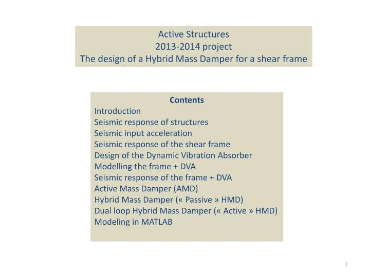 PPT - Active Structures 2013-2014 project The design of a Hybrid ...