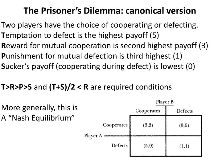 The Prisoner's Dilemma: canonical version