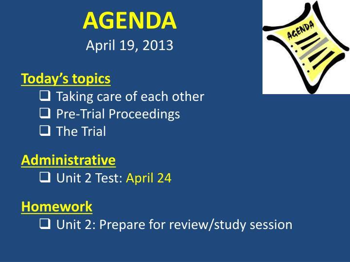 Agenda april 19 2013