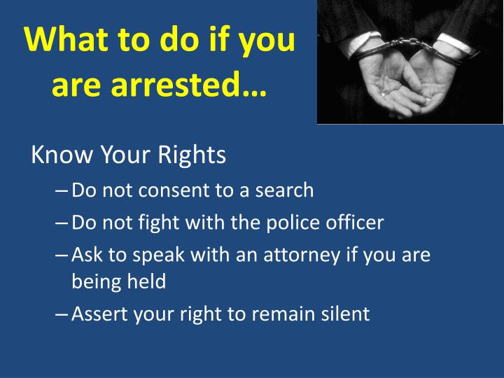 What to do if you are arrested…
