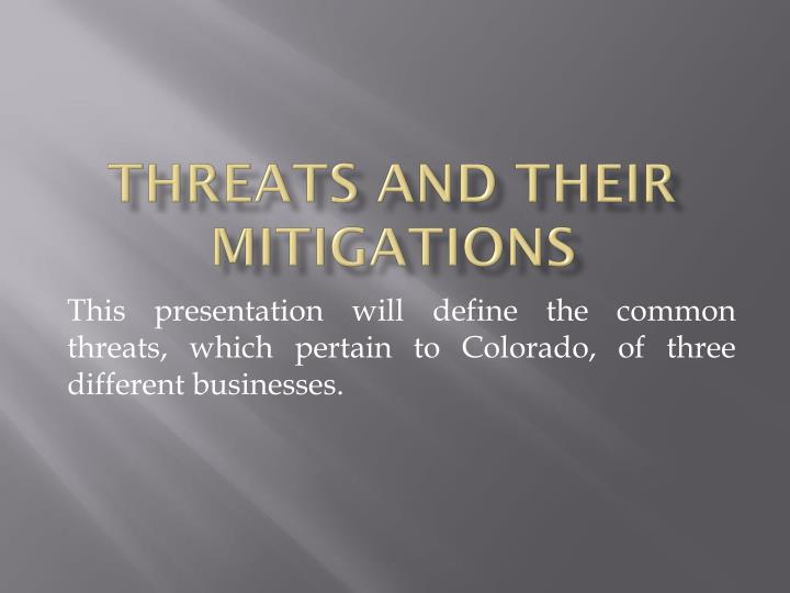 threats and their mitigations n.