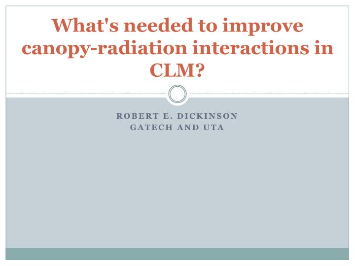 what s needed to improve canopy radiation interactions in clm n.