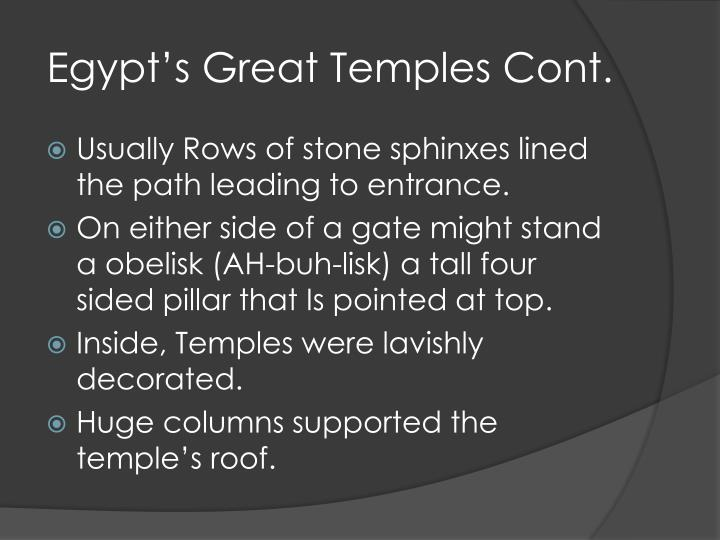 Egypt's Great Temples Cont.