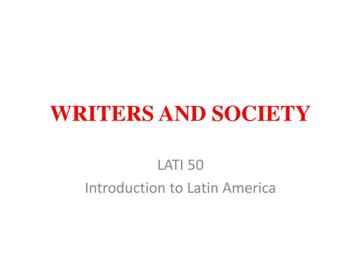 writers and society n.