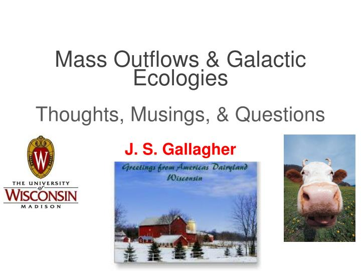 mass outflows galactic ecologies thoughts musings questions n.