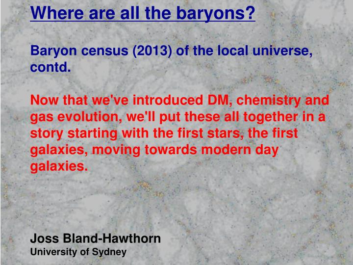 Where are all the baryons?