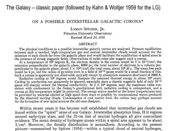 The Galaxy – classic paper (followed by Kahn & Woltjer 1959 for the LG)