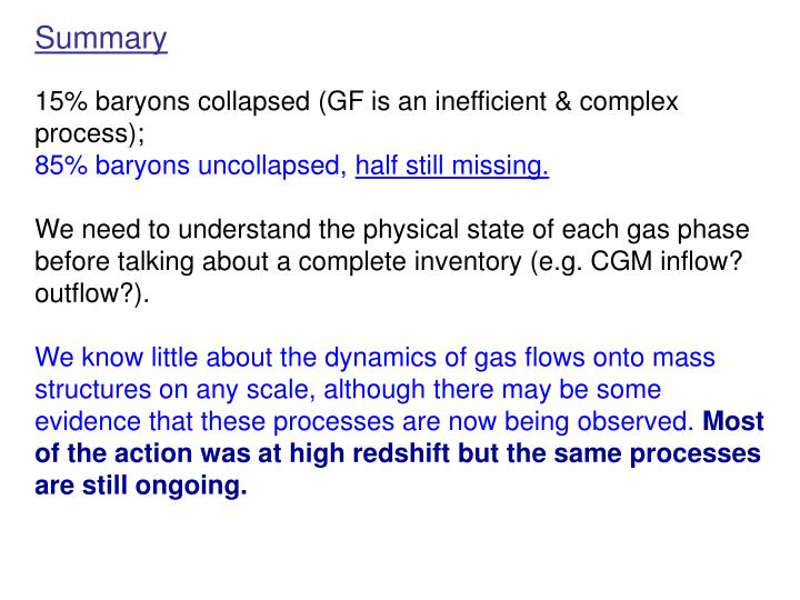 15% baryons collapsed (GF is an inefficient & complex process);